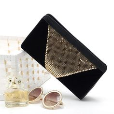 Women Clutch Gold Sequins Handbag Party Evening Wedding Bridal Button Purse Bag | eBay