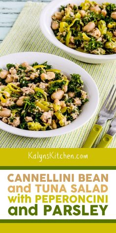 Cannellini Bean and Tuna Salad with Peperoncini and Parsley is perfect to keep in the fridge and pull out for a tasty lunch. And I've updated the recipe to have more tuna and Peperoncini and less beans which makes it a more carb-conscious salad! [found on KalynsKitchen.com] #CannelliniTunaSalad #TunaSaladPeperoncini #BeanSaladPeperoncini Cannellini Bean Salad, My Favorite Food, Favorite Recipes, Tuna Salad, Parsley, Bon Appetit, Low Carb Recipes, Salad Recipes, Casserole