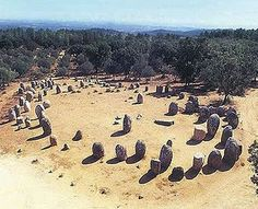 """Cromlech of Almendres. The Iberian cromlech of Almendres (Alentejo, Portugal) could be the original site where the confederation of Megalith Builders reunited, at the arrival of spring, when the Sun """"defeated"""" the Moon."""