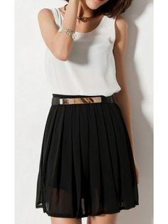 Pleated Chiffon Elastic Waist Skirt
