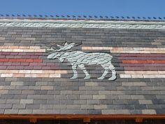 Gone to Moose Camp - Ornamental Slate Roofing Roof Design, Design Art, Design Ideas, Slate Roof, Roof Tiles, Cabins In The Woods, Prefab, Light Art, Stone Art