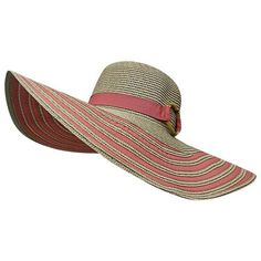 Coral Pink & Tan Striped Brim Floppy Beach Hat featuring polyvore, women's fashion, accessories, hats, coral, summer floppy hat, brimmed hat, floppy sunhat, vintage hats and striped sun hat