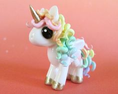 Pastel Rainbow Unicorn  Made to Order by DragonsAndBeasties, $28.00