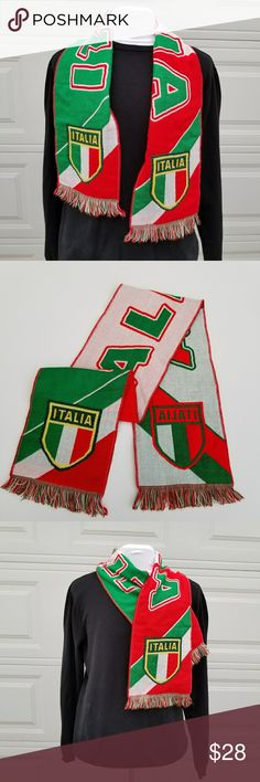 """Italia Fan Scarf ITALY football soccer winter You're purchasing an Italia Italy Fan Scarf. Pre-Owned in good condition.   Measurements: Length 52"""" Width: 8 1/4"""" Accessories Scarves"""