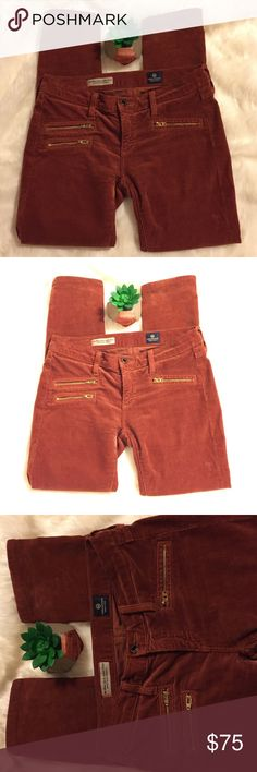 NWOT AG The Moto Stevie Ankle Petite NWOT Adriano Goldschmied the Moto Stevie Ankle Petite. Size 24P, orange rust color, never used, corduroy Ag Adriano Goldschmied Jeans Skinny