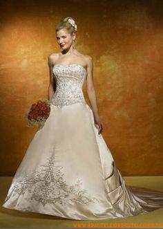 Extravagante Brautkleid aus Satin A-Linie mit lange Schleppe