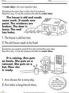 1st or 2nd Grade Main Idea Worksheet about Storms | Teach ...