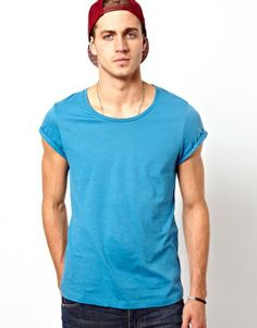 ASOS T-Shirt With Scoop Neck And Roll Sleeve  £5.00 #Men #T-Shirt #Clothes
