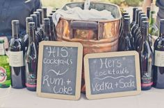 His & Her .. super cute Unique Wedding Bar Design Ideas..cute idea for a Couples Shower!