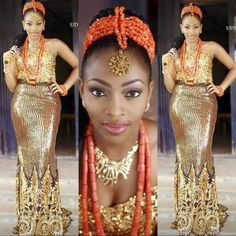 Igbo traditional wedding attire for the bride ▷ NAIJ. Nigerian Traditional Wedding, Traditional Wedding Attire, Traditional Outfits, Traditional Weddings, African Lace, African Women, African Dress, African Fabric, Nigerian Bride