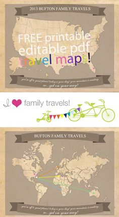 Free Printable Travel Maps perfect for summer travels #diy #crafts