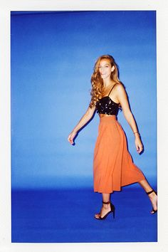 """Stop Being Afraid Of Culottes #refinery29 http://www.refinery29.com/culottes#slide2 What she said: """"I'm now a tried-and-true fan. I love the way my look was a bit more dressed-up but still unexpected with the color of the culottes being somewhat 'daytime.' Yes, I love a crop top but I do actually think that for my body this combination is perfect — sophisticated but still with the silhouette to go out at night."""""""