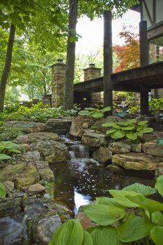 Woodland waterfall in suburban Chicago backyard.