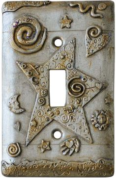 STAR Antique Pewter and Gold Switch Plates Image, Outlet Covers, Switchplates