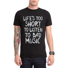 Life\'s Too Short T-Shirt | Hot Topic ($21) ❤ liked on Polyvore featuring tops, t-shirts, short tops, black short top, black t shirt, black tee and short t shirt