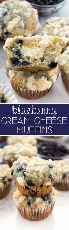 Blueberry Cream Cheese Muffins - this is the PERFECT blueberry muffin recipe. Easy, soft and fluffy, and full of juicy blueberries and cream cheese filling!