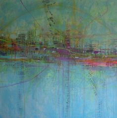 Transitory Space // Katharyna Ulriksen 2009 mixed media on canvas #painting #art #maps #cities #senseofplace #nonplace #travel #transit #temporarylocations
