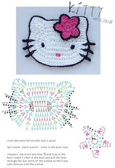 Patrón: almohadones super elegantes / Super elegant cushions with crochetCrochet Patterns For Kids Hello Kitty appliqueDIY by les frotteursHow to Crochet a Bodycon Dress/Top - Crochet IdeasThis Pin was discovered by Oks Motifs D'appliques, Crochet Motifs, Crochet Diagram, Crochet Blanket Patterns, Crochet Stitches, Chat Crochet, Crochet Mignon, Crochet Amigurumi, Crochet Baby