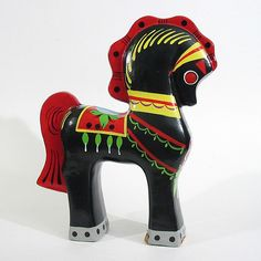 Russian Trojan Folk Art Horse Black