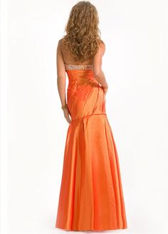 Buy discount Stunning Taffeta Mermaid Strapless Pleated Floor Length Beaded Prom Gown at Dressilyme.com