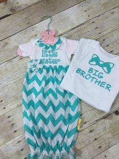 8b793fd411dd9 Matching big brother shirt little Sister dress hospital outfits first  family pictures baby shower gift chevron aqua family pictures shirts