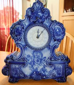 Antique Vintage Delft Blue Mantel Shelf Clock Porcelain | eBay