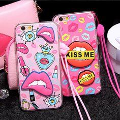 Mignon 3D Sexy Doux Lèvres Housse Pour Apple iPhone 5 5s SE 6 6 s Plus 6 Plus TPU Silicone De Luxe Mode Vintage Capa avec lanière