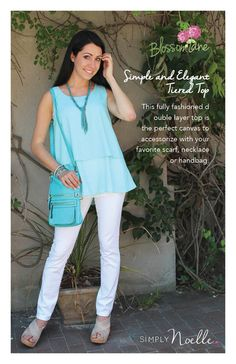 Simply Noelle Signature Print Tunic Turquoise