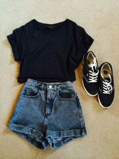 Casual attire- denim High waisted shorts, black top, vintage hipster trainers, High waisted shorts with a dark blue wash Teen Fashion, Fashion Outfits, Fashion Ideas, Vans Fashion, Fashion Clothes, Rock Fashion, Fashion Guide, Dress Fashion, Style Fashion