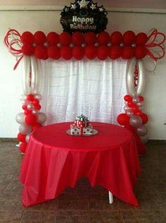 Discover thousands of images about Balloon arch Red Party Decorations, Birthday Balloon Decorations, Birthday Balloons, Birthday Parties, Happy Birthday, Balloon Backdrop, Balloon Columns, Balloon Garland, Balloon Balloon