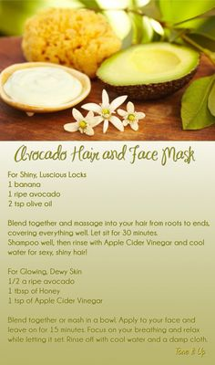 Tone It Up: DIY Avocado Hair and Face Mask DIY Avocado Hair and Face Mask {will make your hair soft and shiny, clear up your skin, and give you a glow! Natural Hair Care, Natural Skin, Natural Hair Styles, Natural Beauty, Natural Oils, Au Natural, Tone It Up, Homemade Beauty, Diy Beauty