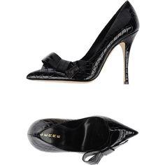 Lerre Pump ($345) ❤ liked on Polyvore featuring shoes, pumps, dark blue, dark blue pumps, crocs footwear, croc pumps, high heels stilettos and dark blue shoes