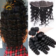 8A Brazilian Remy Hair Lace Frontal Closure With 4 Bundles Cheap Brazilian Virgin Hair With Closure Loose Wave With Closure