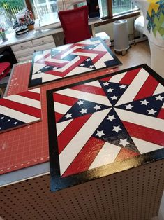 Quilt Square Patterns, Barn Quilt Patterns, Square Quilt, Flag Quilt, Patriotic Quilts, Quilt Blocks, Quilt Art, Barn Quilt Designs, Quilting Designs