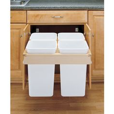 Buy the Rev-A-Shelf White Direct. Shop for the Rev-A-Shelf White Top Mount Quadrouple Bin Trash Can for Frameless Cabinets - 27 Quart Capacity per Bin and save. Kitchen Organization, Kitchen Storage, Kitchen Recycling Bins, Kitchen Bins, Recycling Storage, Plastic Recycling, Recycling Projects, Kitchen Waste, Kitchen Trash Cans