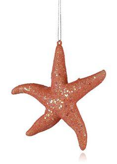 Glittered Starfish Christmas Tree Ornament Coastal Living Holiday. jamaligarden.com