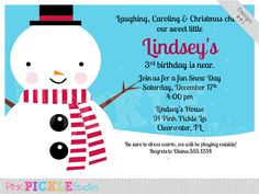 Sweet Snowman Personalized Party Invitation-personalized invitation, photo card, photo invitation, digital, party invitation, birthday, shower, announcement, printable, print, diy, christmas, holiday