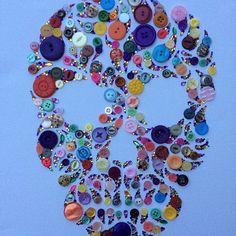 Skull Buttons - button art - buttons