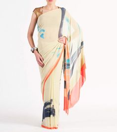 #Lemon #Georgette Printed #Saree by #Satya #Paul at #Indianroots