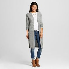 Women's Pointelle Duster Cardigan Heather Grey L - Love @ First Sight (Juniors') : Target