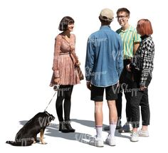 four cut out young people and a dog standing in a group and talking Cut Out People, Circus City, Body Gestures, Magazine Man, Stock Imagery, Rain Collection, Man Icon, Pose Reference Photo, Human Figures