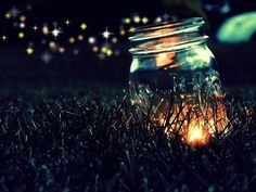 Summer Lights...light candles in mason jars and then place the jars in your space out doors for a warm flickering glow :)