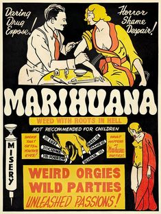 Marihuana, Funny Anti-Marijuanna Poster - Vintage Propagada Poster, advertising, classic posters, free download, free posters, free printable, graphic design, printables, retro prints, theater, vintage, vintage posters, vintage printables, marijuanna poster, #vintageposters