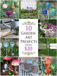 10 Garden Art Projects Under $20 - come pick your favorites!  #gardenart #spon #diyprojects #repurposed