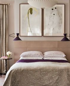 Interiors - February/March 2013 - Page taupe and purple bedroom Home Bedroom, Master Bedroom, Bedroom Decor, Modern Bedroom, Neutral Bedrooms, Boudoir, Suites, Beautiful Bedrooms, Interiores Design