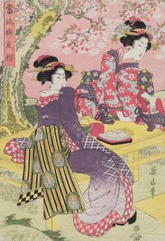 Cherry blossoms in a palace garden. Ukiyo-e woodblock print, about 1840's, Japan, by artist Kikugawa Eizan.
