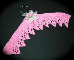 Decorative Knitted Coat Hanger Lacey on Craftsuprint designed by Wynona O'neil - made by Cynthia Massey - I used pink double knitting wool for my coat hanger, this was very easy to make and would make a lovely unusual gift which would be very useful to all, you can never have enough coat hangers and this is so pretty, I shall be making more for Christmas presents. - Now available for download!