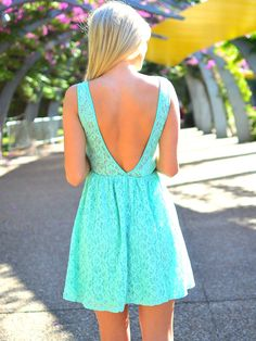 Floral lace turquoise dress. Deep v back