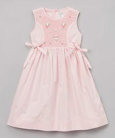 Look at this #zulilyfind! Pink Smocked Flowers Bow Dress - Infant, Toddler & Girls #zulilyfinds
