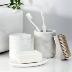 Marble Soap Dish | The White Company US. Shopping from the UK? -> http://www.thewhitecompany.com/home/home-accessories/new-in/marble-soap-dish/?refCode=BMHSD